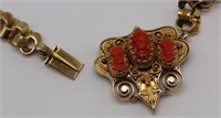 JEWELRY. Victorian 14kt Gold, Coral and Enamel
