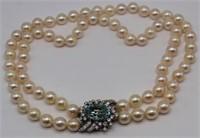 JEWELRY. Pearl, Aquamarine and Diamond Necklace.