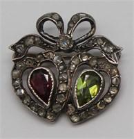JEWELRY. Victorian Twin Hearts Diamond Brooch.