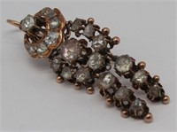 JEWELRY. Antique 14kt Gold and Rose Cut Diamond
