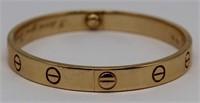 JEWELRY. Cartier 18kt Gold Love Bracelet.