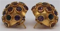 JEWELRY. Pair of Signed 18kt Gold Sputnik Earrings