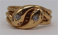 JEWELRY. English 18ct Gold Double Snake Ring.