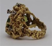 JEWELRY. Signed 18kt Gold, Peridot & Diamond Ring
