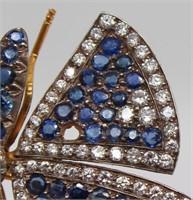 JEWELRY. Antique en Tremblant Butterfly Brooch.