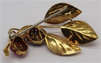 JEWELRY. Grouping of 18kt and 15ct Brooches.