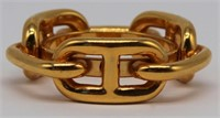 JEWELRY. Hermes Gold Tone Scarf Ring.