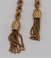 JEWELRY. 14kt Gold Chain with Tassels.
