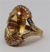 JEWELRY. 14kt Gold, Citrine and Diamond Ring.