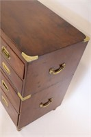 Antique Mahogany And Brass 2 Piece Campaign