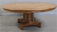 Large Antique Pedestal Table With Fluted Base.