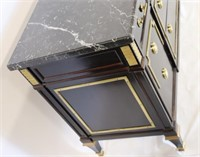 Lacquered and Gilt Metal Mounted Marbletop Chest.