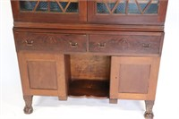 Empire Mahogany Bookcase /Cabinet with Broken Arch