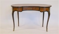 Antique Continental Parquetry Inlaid And Bronze
