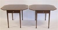 Pair Of Antique Banded Mahogany Pembroke Tables.