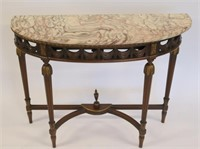 Antique Continental Carved Marbletop Demilune
