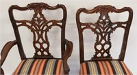 Finely Carved Set Of 8 Mahogany Chippendale