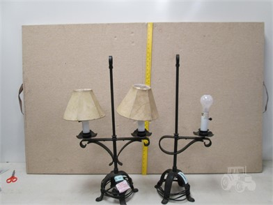F 3 1 Pair Of Heavy Cast Iron Table Lamps Other Items For
