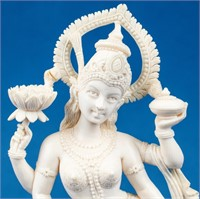 Pre-Ban Ivory Figurine of Quan Lin on Wood Stand