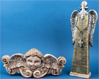 Signed Carved Wood Angel Face & Wings +
