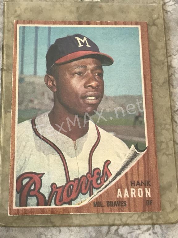 1962 Hank Aaron Topps 320 Baseball Card Texmax Auctions Llc