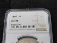 1897-P Morgan Silver Dollar-