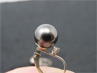 14kt YG Black Pearl w/ Diamonds Earings-