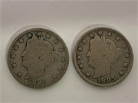 US Victory Head V Nickel 1898 and 1905