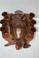 Wooden Decanter with (6) Glasses