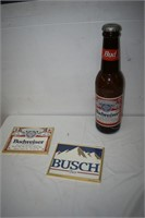 """(2) Beer Pictures & Coin Bank 24"""" Tall"""