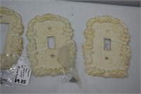 (5) Cast Iron White Light Switch Covers