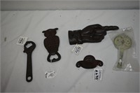 Cast Bottle Openers, Go Right Hand & Own Hook