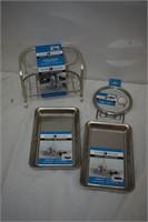 Stainless Steel Vanity Organizer, Mirror & Trays