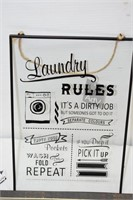 Glass Laundry Sign & Metal Sign