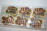 House & Sunflower Shower Curtain Hooks