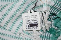 (3) Sea Green Turkish Towels & Tin Cup Décor