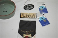 Dog Items Including Pewter Tags, Metal Sign,
