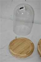 Large & Small Glass Domes with Wood Base