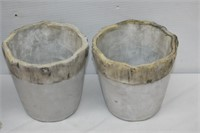 Group of Woody Concrete Planters