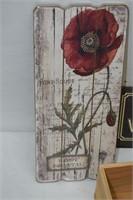 (2) Signs & Wood Centerpiece