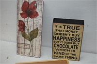 (2) Signs & Wood Centerpiece