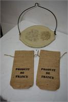 Metal Display Tray & (2) Burlap Wine Bags