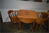 Wood Table with (2) Chairs