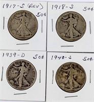 Coin 8 Walking Liberty Half Dollars 1917-1944