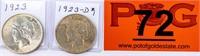 Coin 2 Peace Silver Dollars 1923 & 1923-D