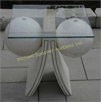 WHITE STONE VENEER COFFEE TABLE WITH GLASS TOP