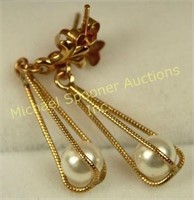 PAIR 9K YELLOW GOLD CAGED PEARL DROP EARRINGS