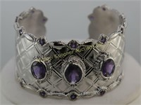STERLING AND AMETHYST CUFF BRACELET