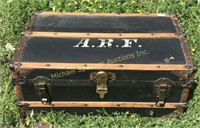 ANTIQUE TRUNK WITH LEATHER HANDLES