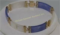 TWO 14K YELLOW GOLD AND LAVENDER JADE BRACELETS